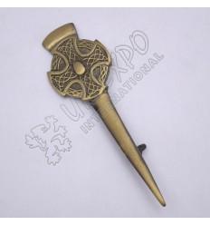Celtic Cross Design Brass Antique Kilt Pin