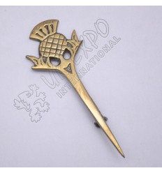 Scottish Flower Brass Antique Kilt Pin