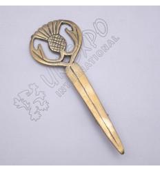 Thistle Brass Antique Kilts Pin