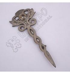 Thistle With Stone Shiny Antique Kilt Pin