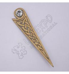 Celtic Design With White Stone Brass Antique Kilt Pin