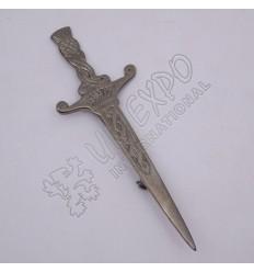 Celtic Crown Design Shiny Antique Kilt Pin