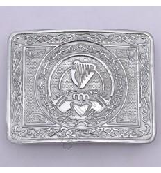 Love Heart Harp Celtic Chrome Kilt Belt Buckle
