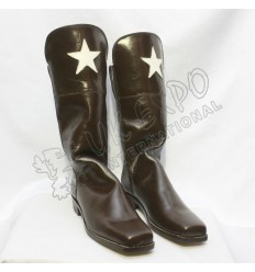Brown Horse Riding Civil War Boot With Start on The Top