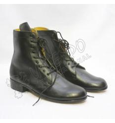 Mens Civil War Smooth Black Leather Shoes Medium long