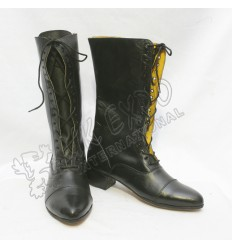Ladies Civil War Full Black Smooth Leather Long Shoes With Long Lace And Heel