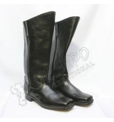 Civil War Black Leather Long Boots