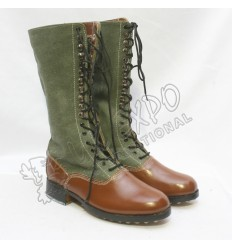 WWII German DAK High Boots Green Canvas with Brown Leather