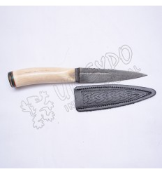 Damascus Steel Blade with Stag Original Handle and Leather Celtic Embossed Cover Sgain Dubh