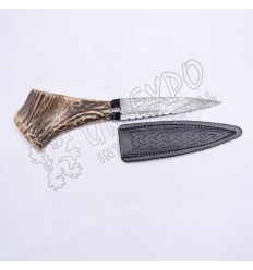 Damascus Steel Blade with Original Hostage Handle and Leather Embossed Cover Sgian Dubh