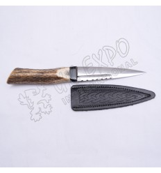 Stainless Steel Blade with Real Stag Handle and Leather Celtic Embossed Cover Sgain Dubh
