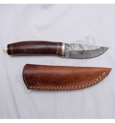 Damascus Blade Knife With Wooden Handle Brass Hook And Nice Leather Cover