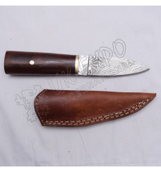 Damascus Heavy Blade Knife With Wooden Handle Nice Leather Cover