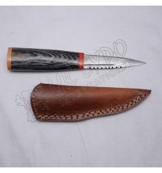 Hiking Knife Damascus Blade with Black Wood Handle Nice Leather Cover