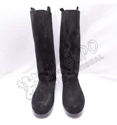 WWII Black Leather Rough Side Out Long Boots