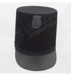 British Shako Hat Plain Leather Brim Black Braid Around The Hat