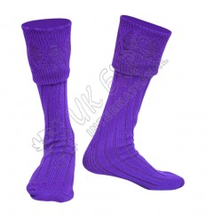 Rhombus Cuff Purple Color Kilt Woolen Socks