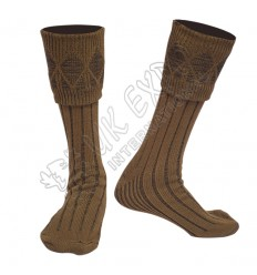 Rhombus Cuff Brown Color Kilt Woolen Socks