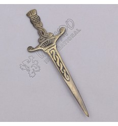 Celtic Crown Design Brass Antique Kilt Pin