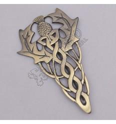 Scottish Flower Primium Celtic Brass Antique Kilt Pin
