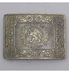 Celtic Rampart Lion Brass Antique Kilt Belt Buckle