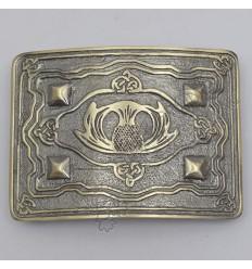 Scottish Flower With 4 Dimonds Brass Antique Kilt Belt Buckle