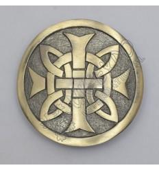 Celtic Knot Cross Round Brass Antique Kilt Belt Buckle