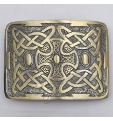 Celtic Trinity Cross Brass Antique Kilt Belt Buckle