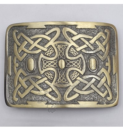 Celtic Trinity Cross Brass Antique Kilt Belt Buckle