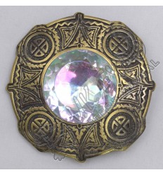 Celtic Knot Work With Stone Brass Antique Brooch