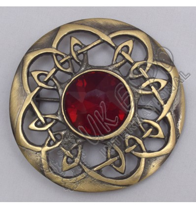 Scottish Celtic Brass Antique With Red Stone Brooch
