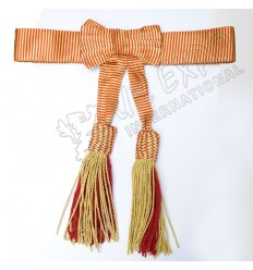Golden With Red Bullion Bow Waist Sash