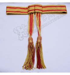 Army Sash Red With Golden bullion Waist Sash