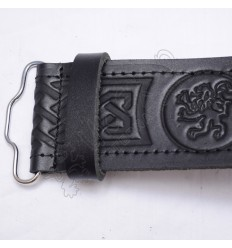 Rampart lion Belt with scottish celtic Embossed real leather belt