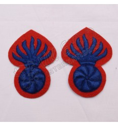 Hand Embroidery Red and Blue Grenade Badge