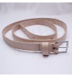 Cream Color Leather Belt Single Pin Buckle