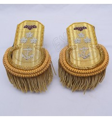 Gold Bullion Shoulders/Epaulette Pair Bullion Frings With Star