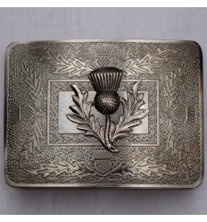 Scottish Brass Antique Thistle Kilt Buckle Black Color Filing With Thistle Badge