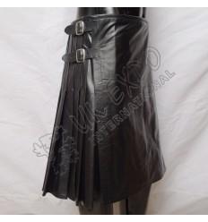 Black Leather Utility Kilt 3 Straps