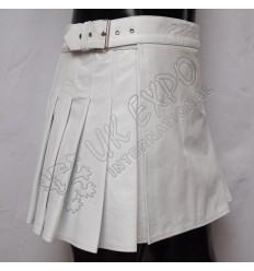 White Leather ladies Utility Kilt