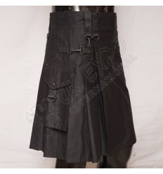 Black color Round Attached Pockets Utility Sports Casual Pocket Kilt