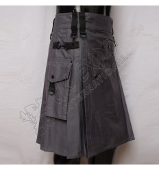 Grey Utility Kilt With Attached Pockets