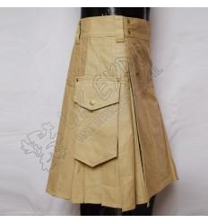 Men Khaki Utility Kilt With Around Attached pockets
