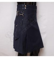 Navy Blue Utility Kilt Round Attached Pockets Utility Sports Casual Pocket Kilt