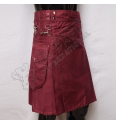Maroon Utility Kilt Round Attached Pockets Utility Sports Casual Pocket Kilt
