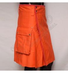 Men orange Color Utility Kilt With 2 side pockets