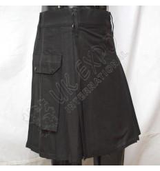 Black Utility Kilt With 2 side pockets