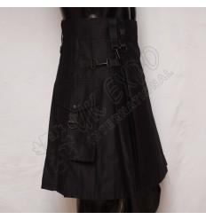 Black color Attached Pockets Utility Sports Casual Pocket Kilt