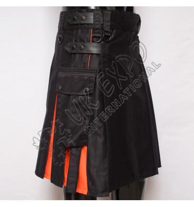 Black and Orange Hybrid Utility Kilt Attached Pockets
