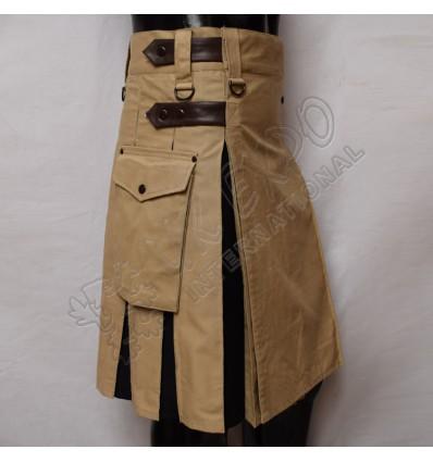 Khaki and Black Hybrid Utility Kilt Attached Pockets